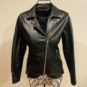 Michael Kors Faux Leather Moto Pelpum Jacket Small